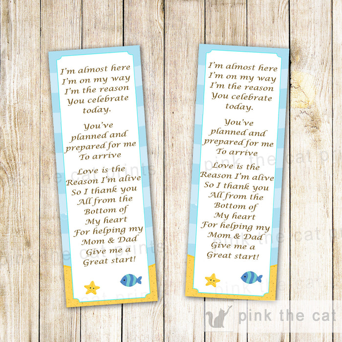 Under The Sea Bookmark Favor Baby Shower INSTANT DOWNLOAD