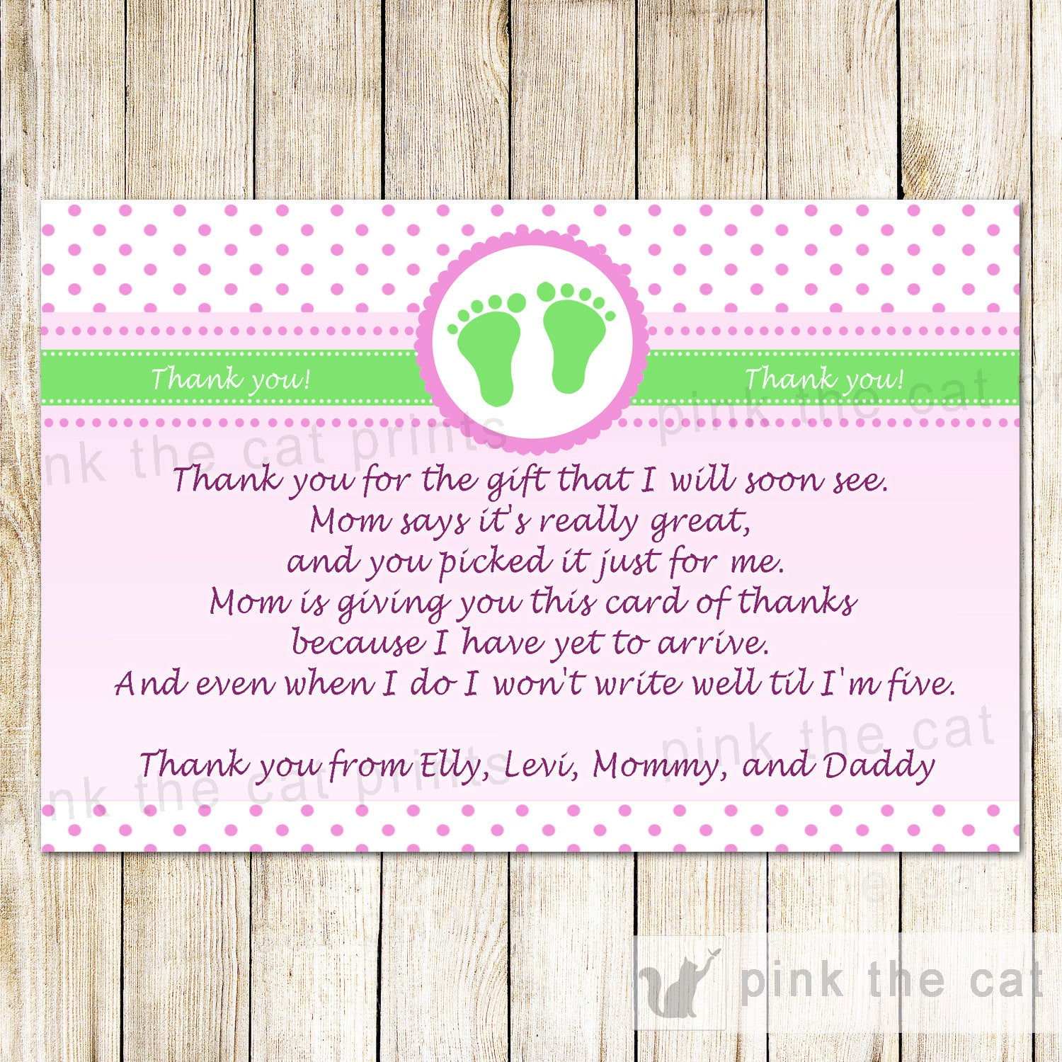Pink green baby shower thank you note polka dots baby feet pink green baby shower thank you note polka dots baby feet greeting card baby girl shower printable editable file instant download kristyandbryce Images