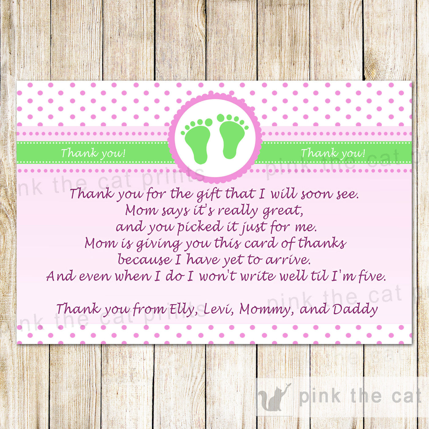 photograph relating to Printable Baby Shower Thank You Cards titled Purple Eco-friendly Kid Shower Thank By yourself Notice - Polka Dots Little one Ft Greeting Card Boy or girl Lady Shower Printable Editable History Prompt Down load