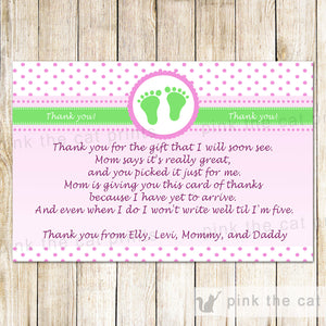 Pink Green Baby Shower Thank You Note - Polka Dots Baby Feet Greeting Card Baby Girl Shower Printable Editable File INSTANT DOWNLOAD