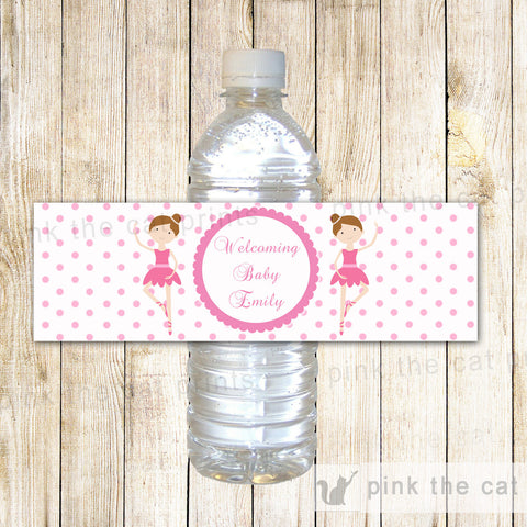 Ballerina Bottle Label Birthday Baby Shower