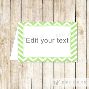 Buffet Food Label Place Seating Name Card Wedding Green Chevron