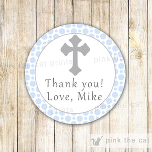 Blue Grey Favor Label Tag Sticker Boy Communion Baptism Christening