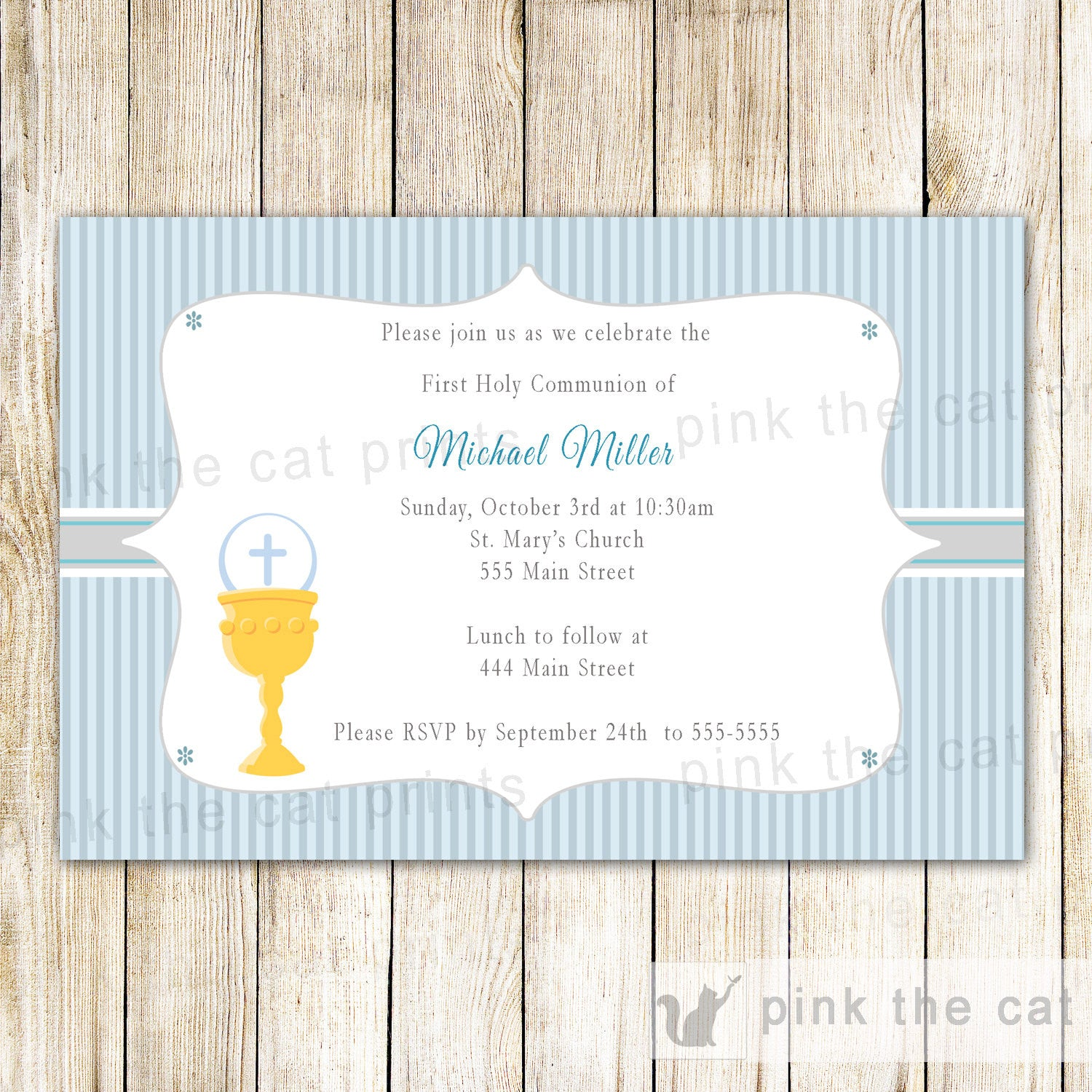 Boy First Holy Communion Invitation Blue Grey Pink The Cat
