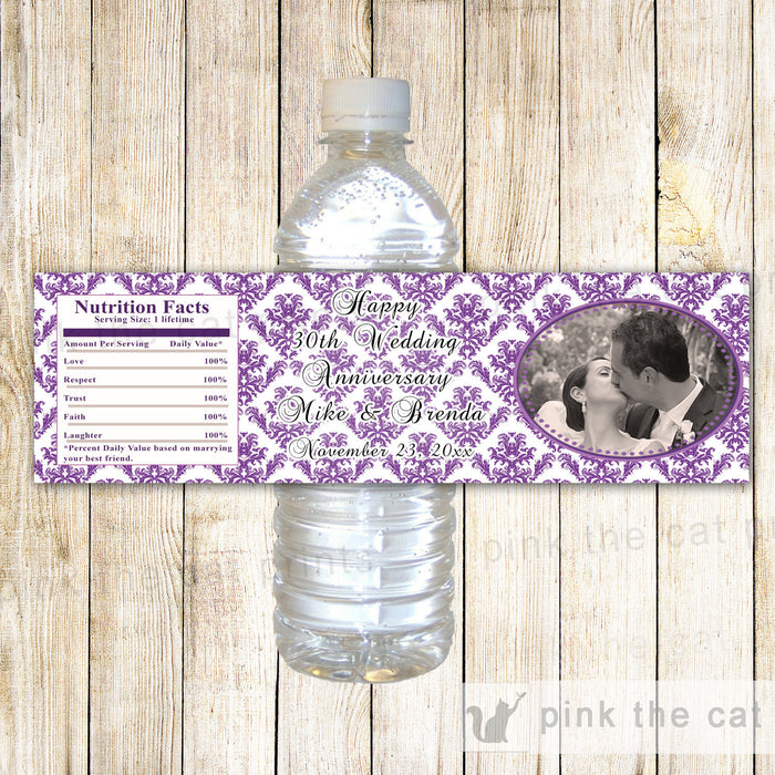 Purple Wedding Anniversary Photo Bottle Label Wrapper