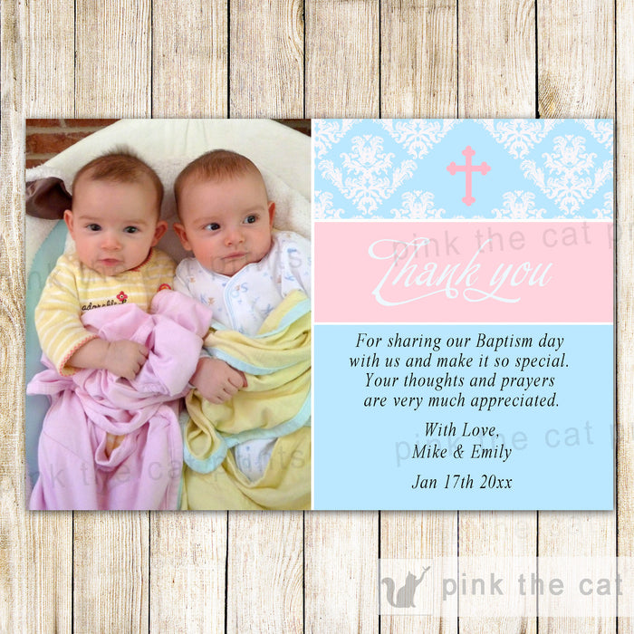 Twins Baptism Christening Thank You Note Photo Card Pink Blue