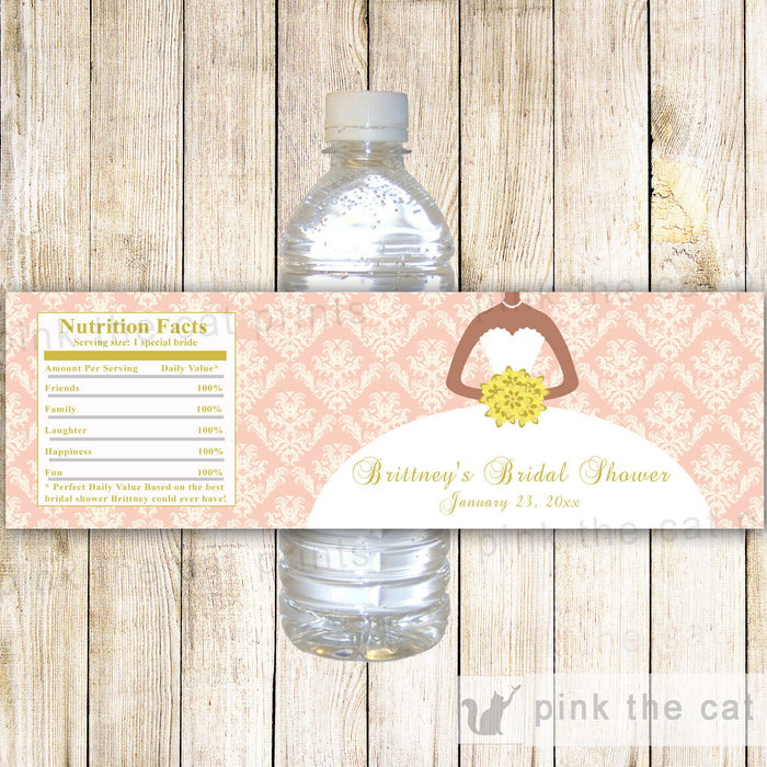 Blush Pink Gold Bridal Shower Bottle Label African American