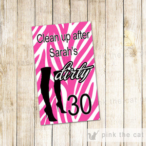 Hand Sanitizer Labels Dirty 30th Birthday Party Bachelorette Zebra Boots