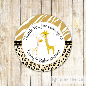 Brown Giraffe Baby Shower Thank You Tag Label Sticker