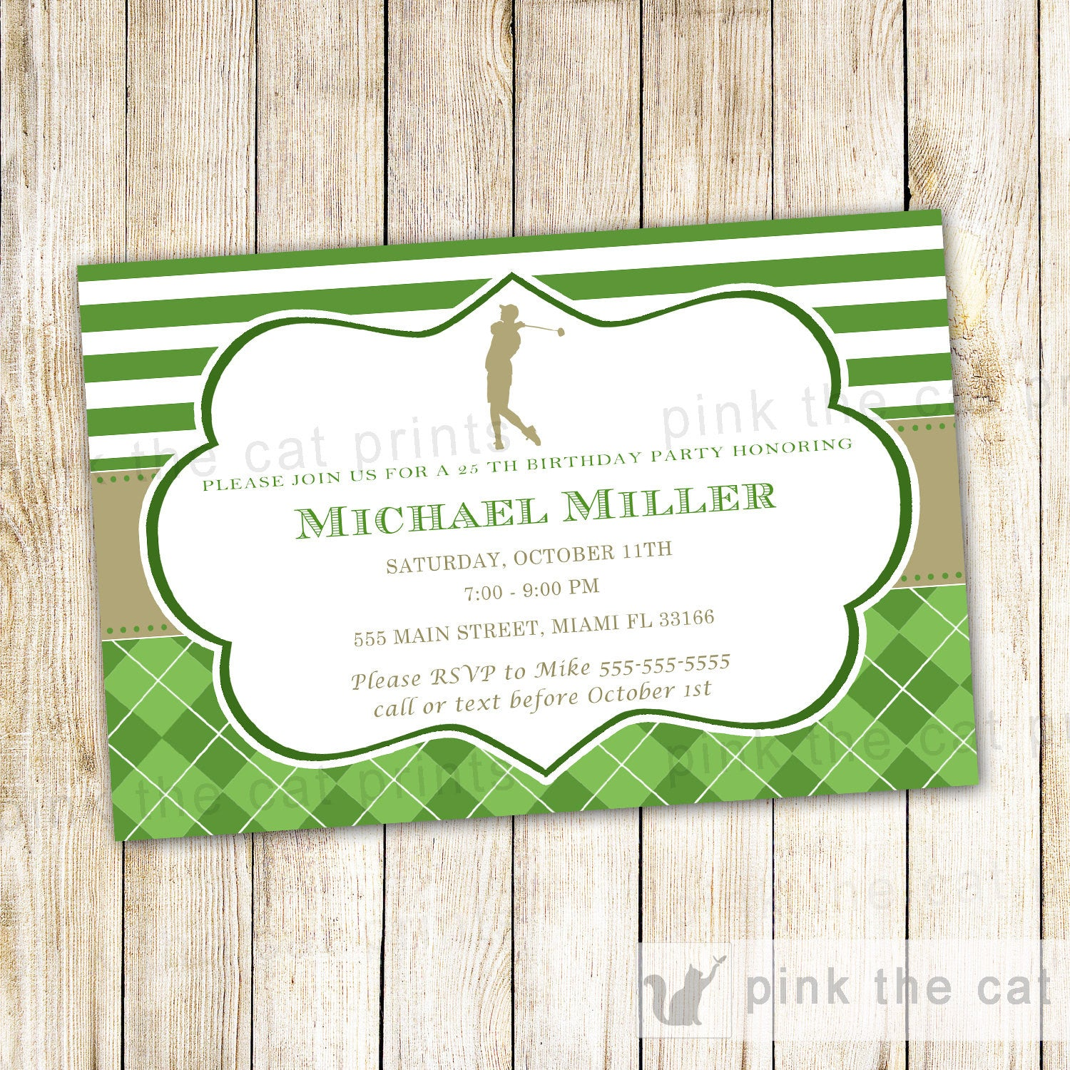 Golf invitation adult birthday party gold green golf theme golf birthday invitation filmwisefo