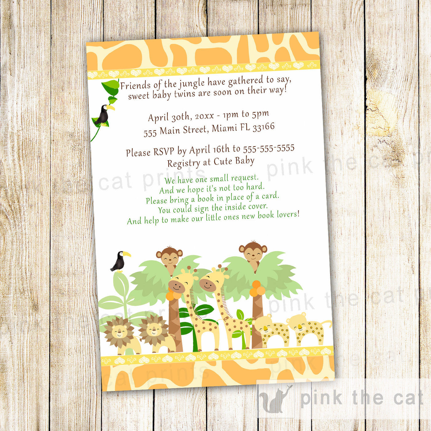 jungle invitation twins baby shower pink the cat