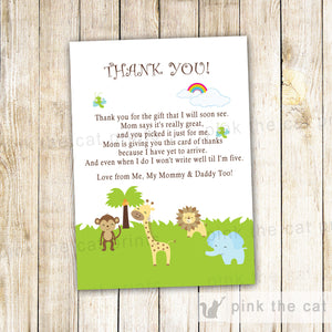 Jungle Thank You Card Note Baby Shower Birthday Animals