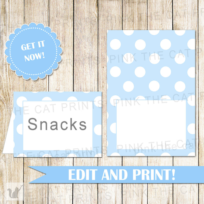 Buffet Food Label Wedding Place Seating Name Card Blue White Polka Dots