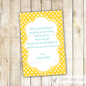 Yellow Polka Dots Thank You Card Note Birthday Bridal Shower