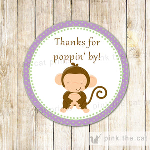 Monkey Baby Shower Gift Favor Labels Thanks For Poppin By Thank You Tags Purple Lillac Polka Dots Printable File