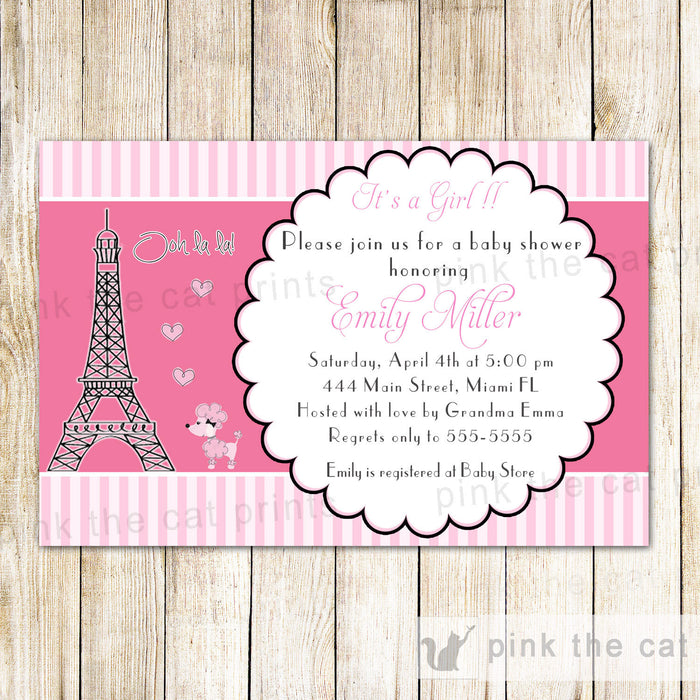 Puddle in Paris Invitation Baby Girl Shower Birthday