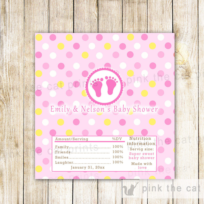 Candy Bar Wrapper Label Pink Yellow Baby Shower