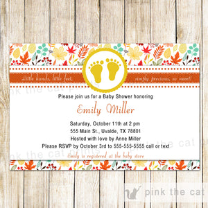 Footprints Fall Invitation Baby Shower Unisex Autumn Leaves Printable
