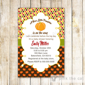 Pumpkin Fall Autumn Invitation Baby Shower Printable