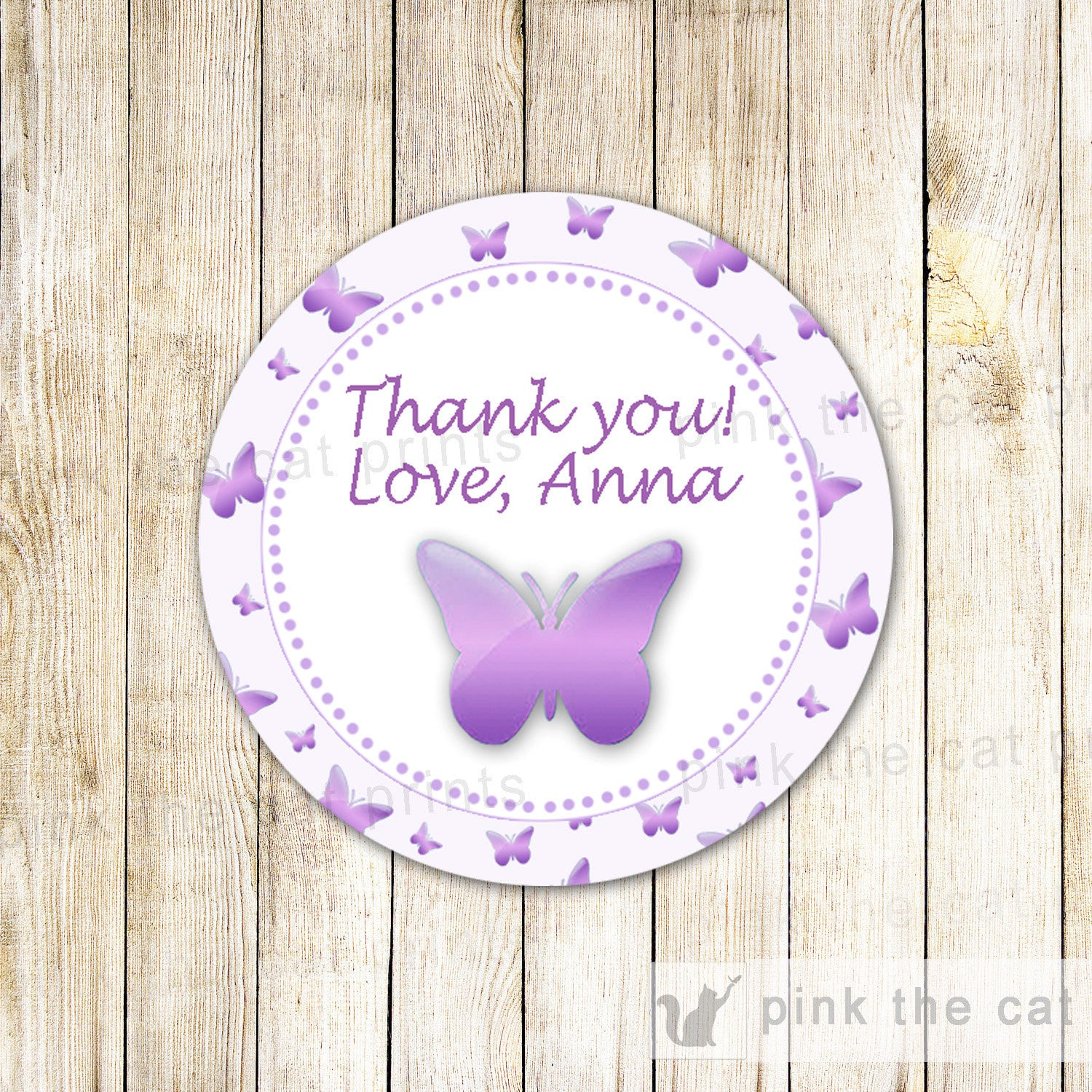 Butterfly Gift Favor Label Thank You Tag Birthday Baby Shower