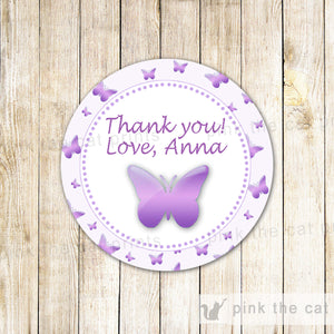 Butterfly Gift Favor Label Thank You Tag Birthday Baby Shower Sticker