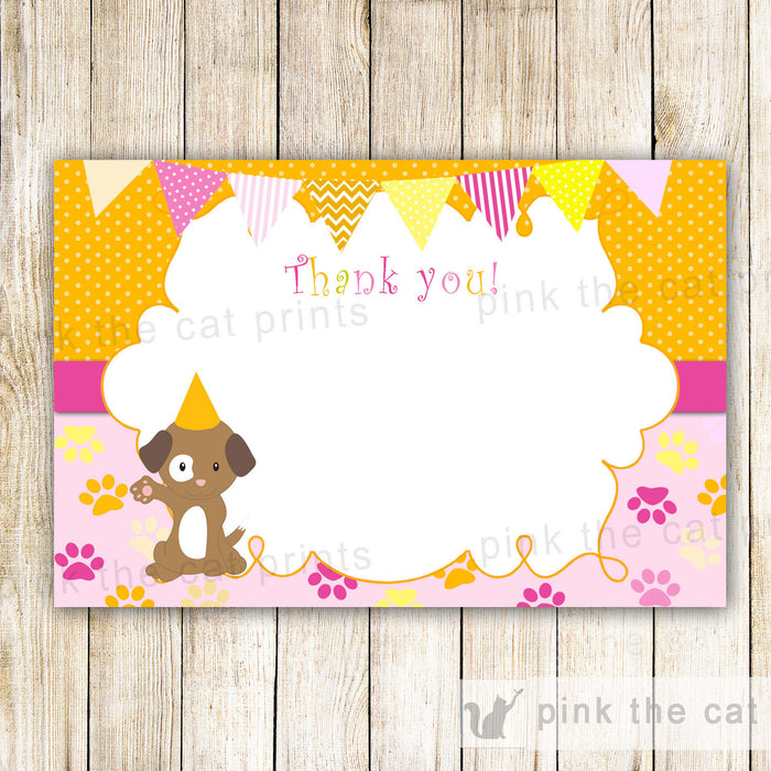 Puppy Thank You Card Kids Birthday Party Items Blank Note Doggie Printable File Orange Pink Girl Boy INSTANT DOWNLOAD