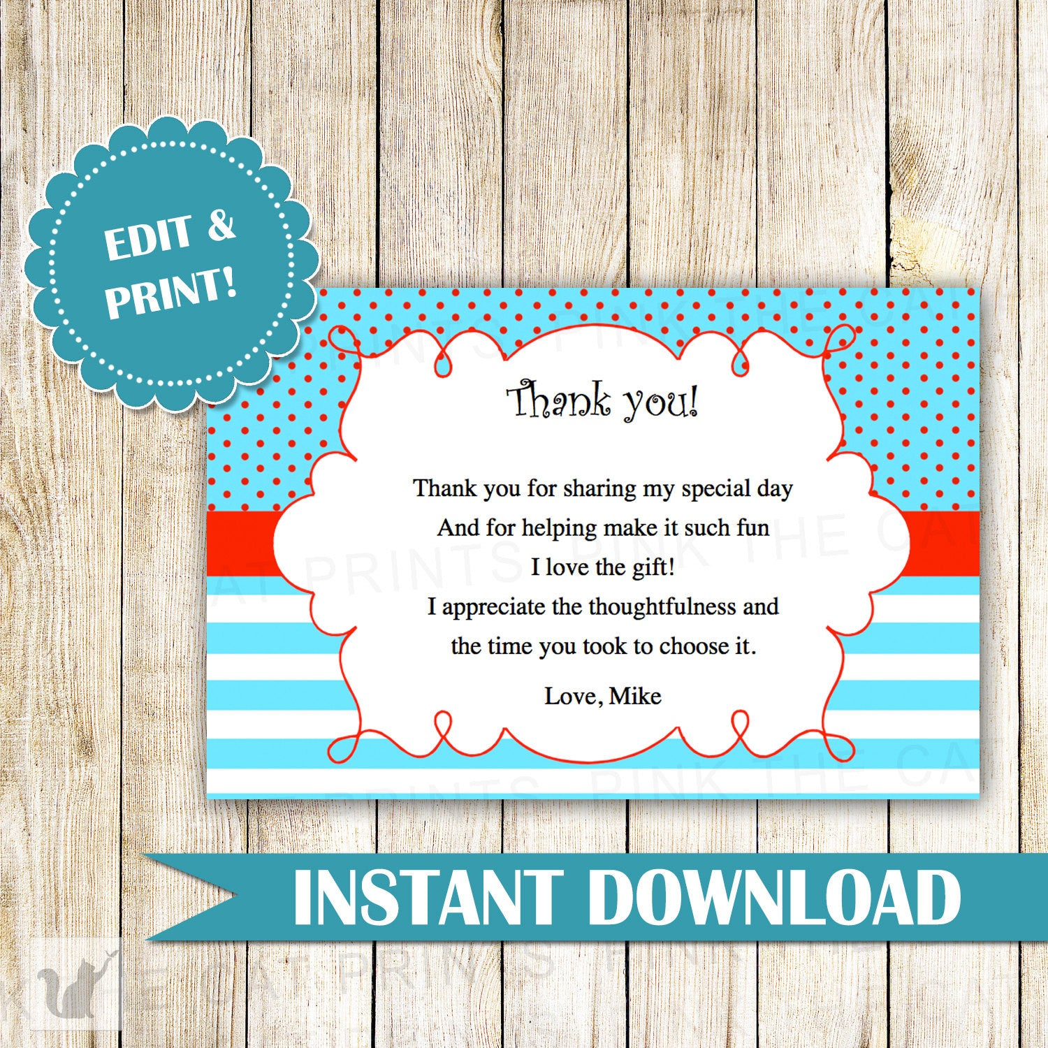 turquoise blue red thank you card note birthday baby shower