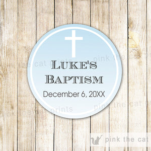 Sky Cross Gift Favor Labels or Thank You Tags - Boy Baptism Christening Communion Confirmation Dedication  Editable File INSTANT DOWNLOAD