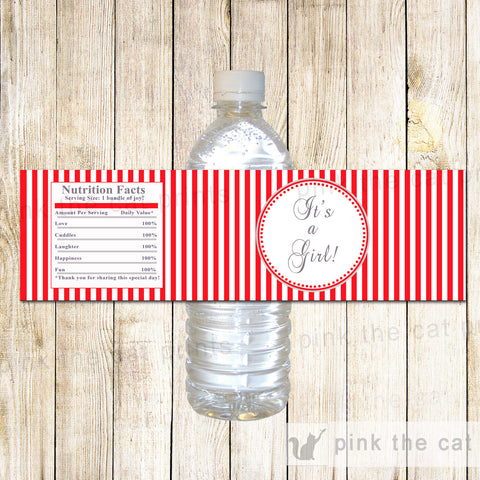 Baby Girl Shower Bottle Label Wrapper Red Stripes