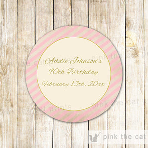 Pink Gold Stripes Adult Birthday Baby Bridal Shower Label Sticker Tag