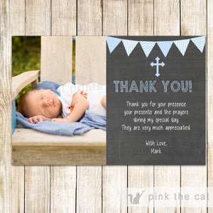 Boy Christening Baptism Thank You Photo Card Blue Chalkboard