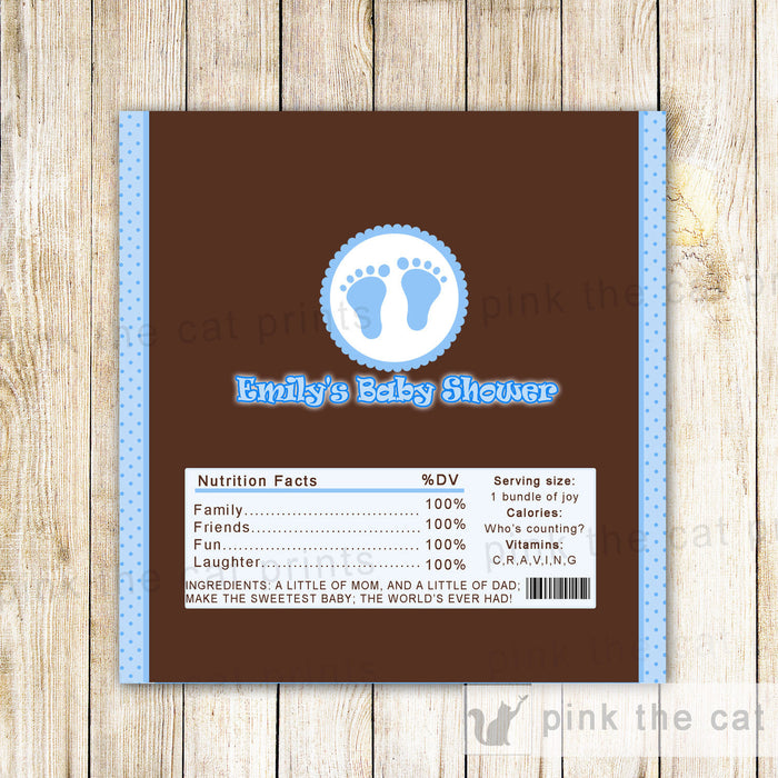 Candy Bar Label Wrapper Blue Brown Baby Shower