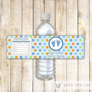 Baby Shower Bottle Label Blue Orange Green