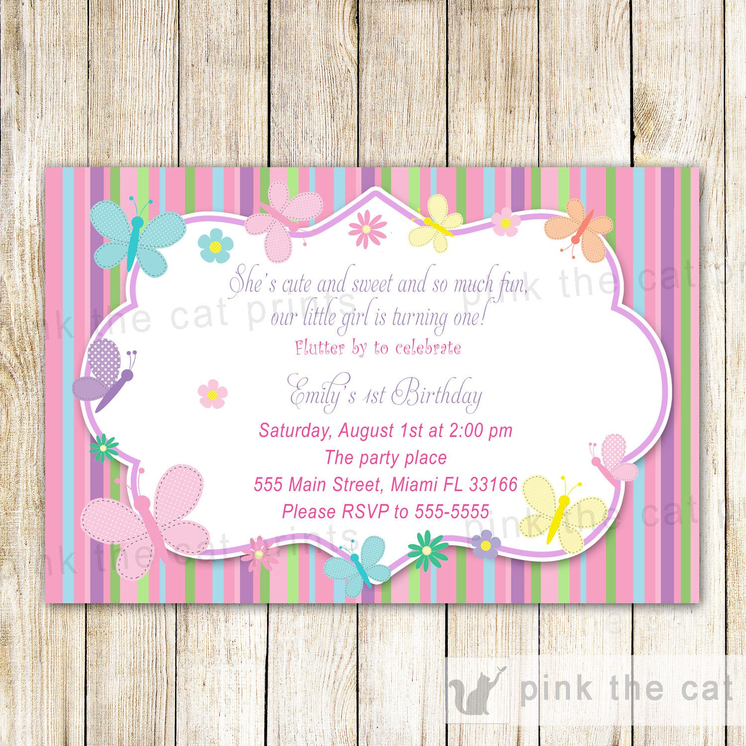 Butterfly Invitation Girl Birthday Party Baby Shower Pink The Cat