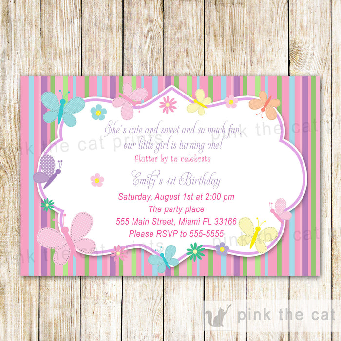 Butterfly Invitation Girl Birthday Party Baby Shower