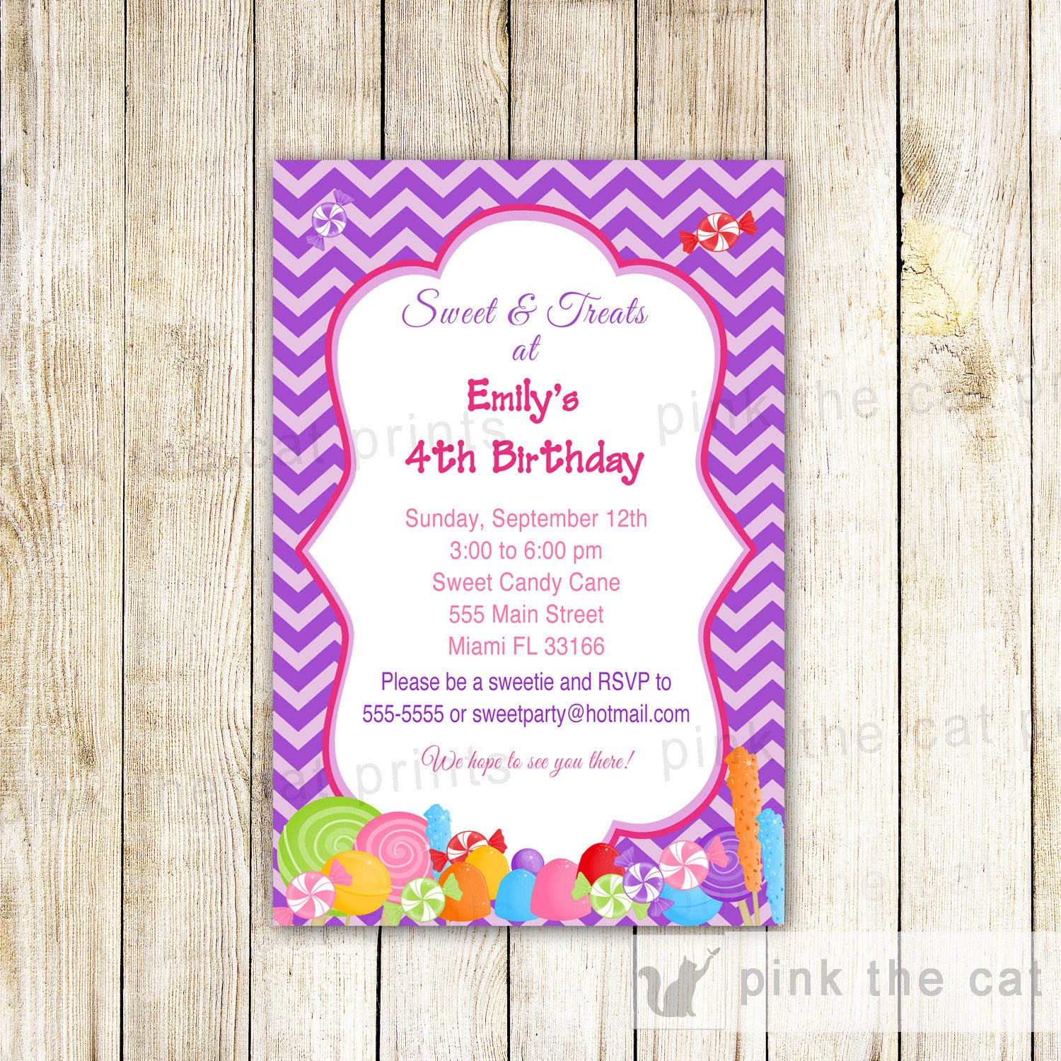 Candy Invitation Girl Birthday Party Baby Shower – Pink The Cat