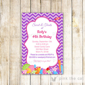 candy sweets invitation purple