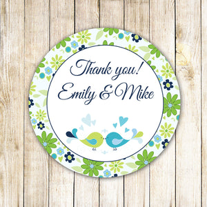 Birds Gift Favor Label Thank You Tag Wedding Sticker Bridal Shower