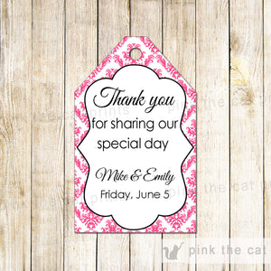 Damask Thank You Tags Gift Favor Tag Pink White Wedding Favor Labels