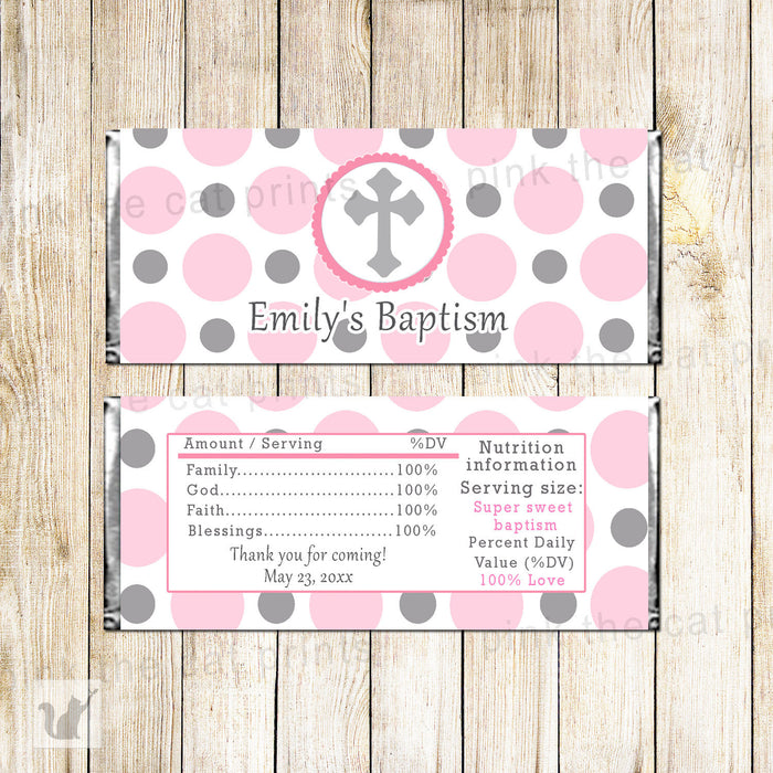 Gray Pink Baptism Christening Candy Label Wrapper