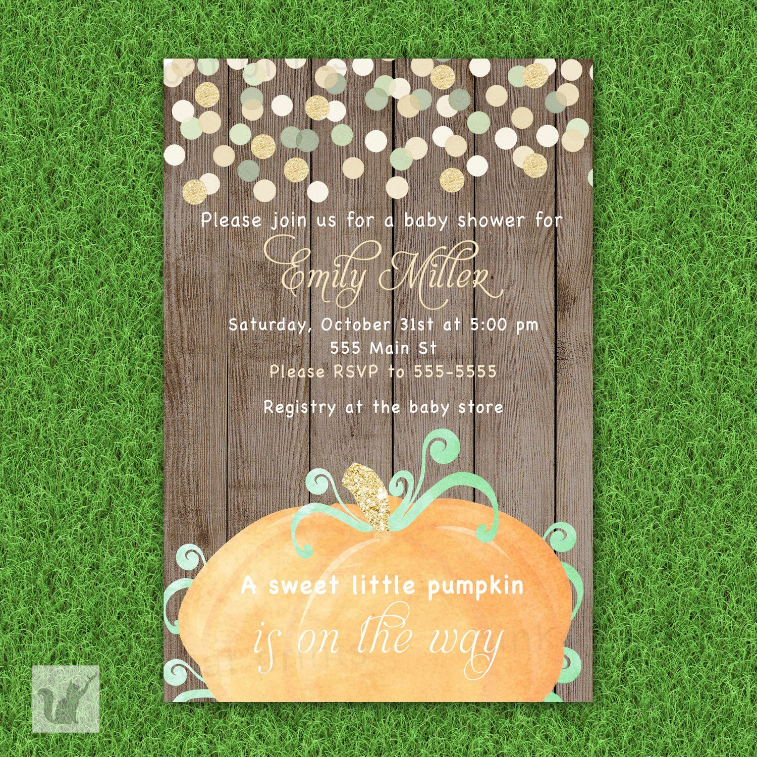 pumpkin invitation baby shower girl boy unisex fall pink the cat