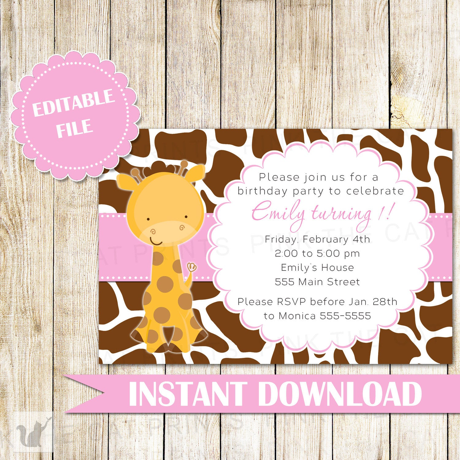 Giraffe Invitation Girl Birthday Party Pink Brown – Pink The Cat
