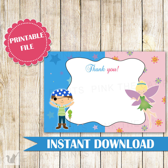 Pirate Fairy Thank You Cards - Pirate Fairy Birthday Party Kids Birthday Fairy Girl Boy Joint Party Siblings Brother Sister INSTANT DOWNLOAD