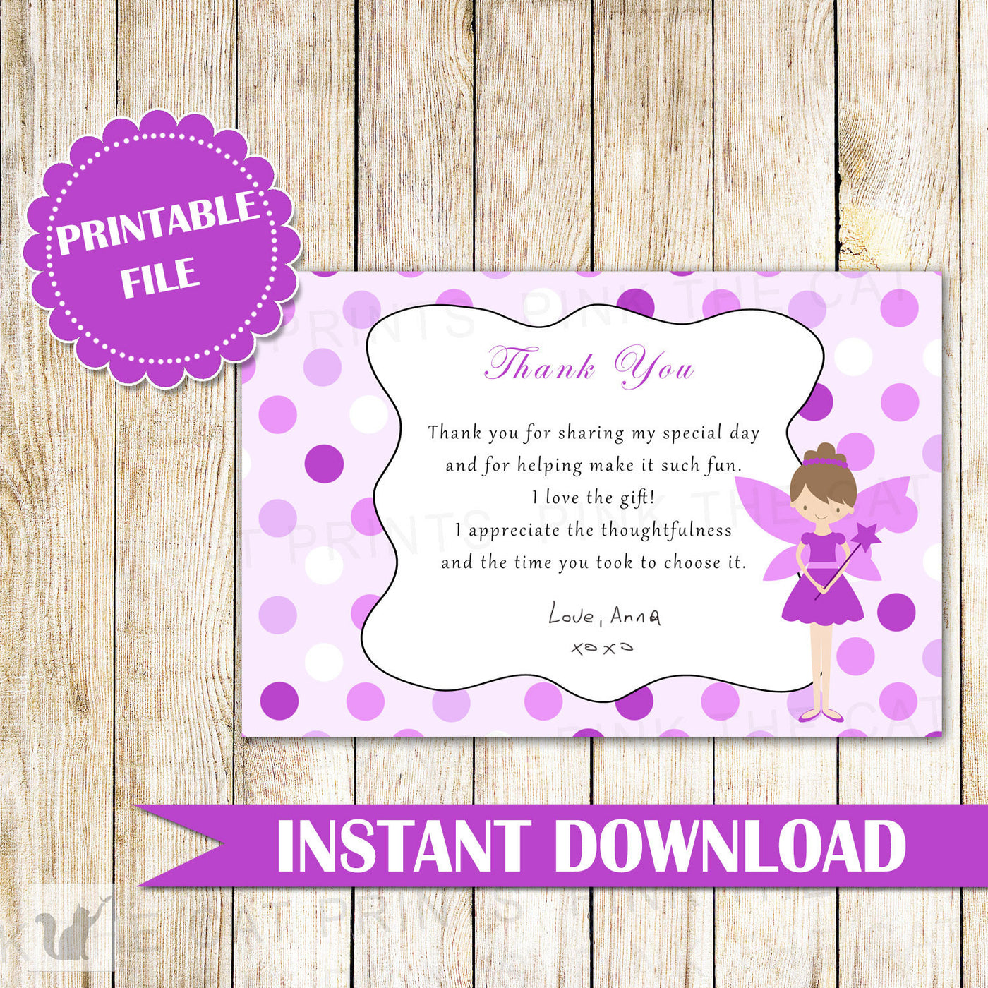 Fairy Thank You Card Note Birthday Baby Shower Purple Pink The Cat