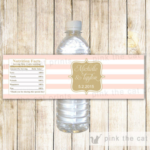 Blush Pink Gold Stripes Wedding Bottle Label