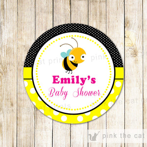 Bee Gift Favor Tag Sticker Birthday Baby Shower