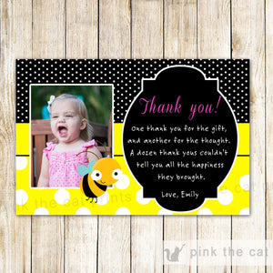 Bee Thank You Note Photo Card Girl Birthday Party