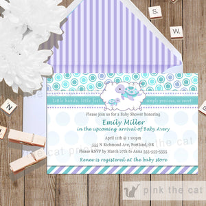Turtle Baby Girl Shower Invitation Teal Purple