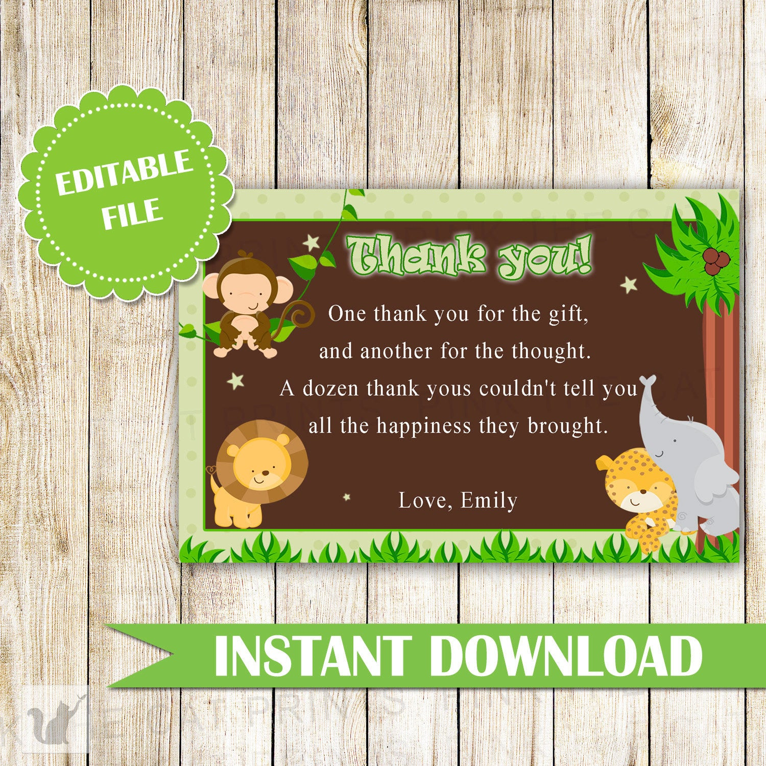 Jungle Thank You Card Jungle Thank You Note Boy Birthday Party Baby
