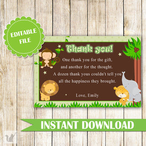Jungle Thank You Card Jungle Thank You Note Boy Birthday Party Baby Boy Shower Greeting Card Baby Sprinkle Thank You Card INSTANT DOWNLOAD